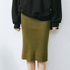 chuu - Rib-Knit Pencil Skirt