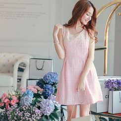 Tokyo Fashion - Lace Panel Sleeveless Tweed Dress