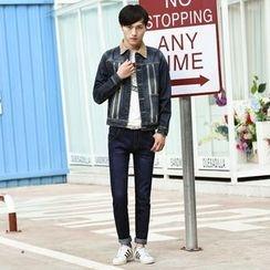Denimic - Set: Contrast Collar Washed Denim Jacket + Slim Fit Jeans