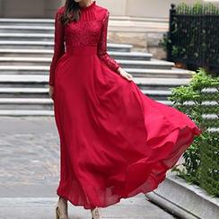 丽贝卡 - 蕾丝拼接雪纺长袖连衣长裙