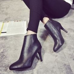 Yoflap - Faux Leather Heel Ankle Boots