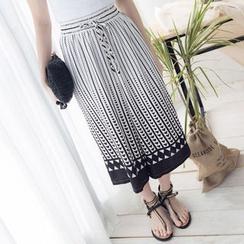 Tokyo Fashion - Drawstring Printed Wide-Leg Pants