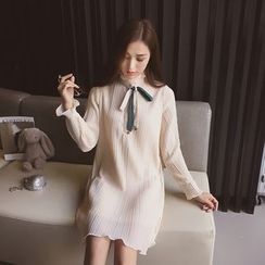 Cocofield - Long-Sleeve Bow Chiffon Dress