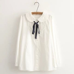 Moricode - Ribbon Lace-collar Blouse