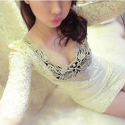 ZAPPA - Elbow-Sleeve Lace Bodycon Dress