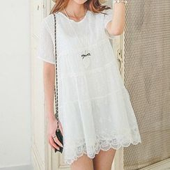 Tulander - Embroidered Short-Sleeve Dress