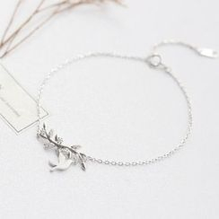 Love Generation - Bird and Leaves Sterling Silver Bracelet
