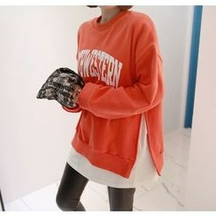 Miamasvin - Layered-Hem Slit-Side Lettering Sweatshirt