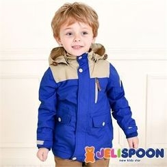 JELISPOON - Kids Hooded Contrast-Trim Parka