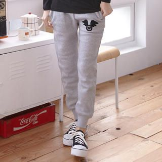 RingBear - Wing-Patch Drawsting-Waist Sweat Pants