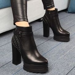 Forkix Boots - Studded Chunky Heel Platform Ankle Boots