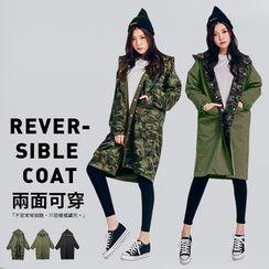 PUFII - Reversible Long Jacket with Hood