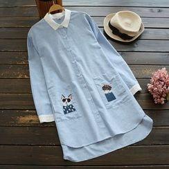 YOYO - Contrast-Trim Long Shirt