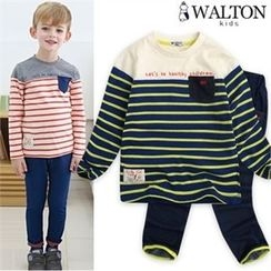 WALTON kids - Boys Set: Stripe T-Shirt + Band-Waist Jeans