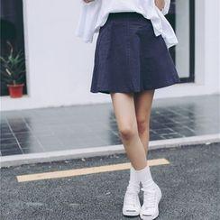 Porta - Linen Cotton A-line Skirt