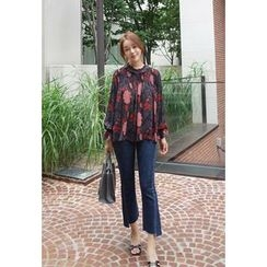BBORAM - Floral Patterned Smocked-Panel Chiffon Top