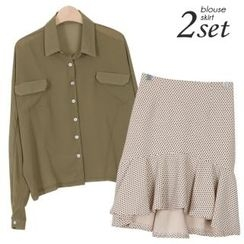 Ho Shop - Set: Cropped Chiffon Blouse + Dotted Ruffle-Hem Skirt