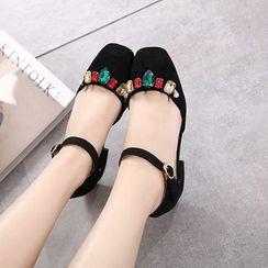 Anran - Low Heel Rhinestone Sandals