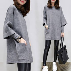 Supernova - Long-Sleeve Mock Two Piece Pullover Dress