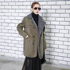 Sonne - Double-Breasted Fleece-Lined Faux-Suede Coat