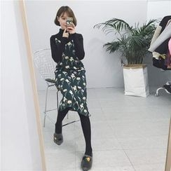 Whitney's Shop - Set: Turtleneck Long Sleeve T-Shirt + Floral Print Pinafore Dress