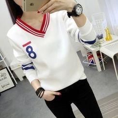 Emeline - Number Print V-Neck Sweatshirt