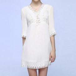 Liya Closet - Crochet Trim Lace Up 3/4 Sleeve Mini Dress