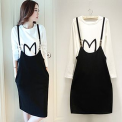 Ashlee - Set: Letter Long-Sleeve Top + Jumper Skirt