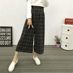 Yumerakka - High-Waist Cropped Wide-Leg Pants