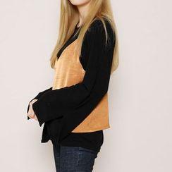 Envy Look - Round-Neck Slit-Sleeve T-Shirt