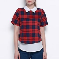 Obel - Short-Sleeve Plaid Blouse