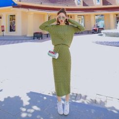 Tang House - Set: Cable-Knit Sweater + Midi Skirt