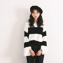 Porta - Stripe Bell-Sleeve Knit Top