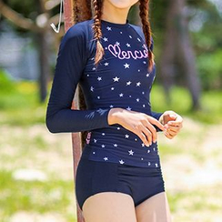 Roseate - Set: Star Print Rashguard + Swim Bottom