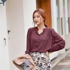 Styleberry - Chiffon Mandarin-Collar Blouse