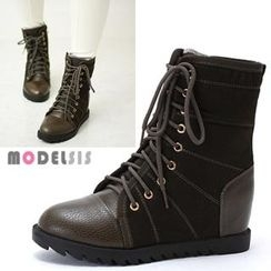 MODELSIS - Lace-Up Hidden Wedge Boots