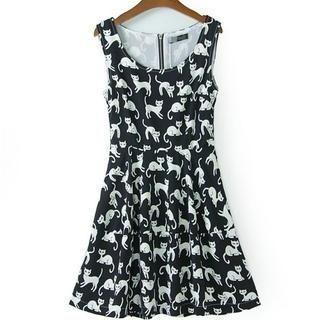 JVL - Cat-Printed Tank Dress