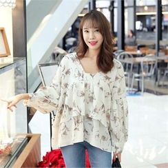 clicknme - Open-Placket Frilled Floral Pattern Blouse