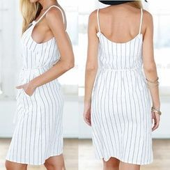 Eloqueen - Sleeveless Striped Dress
