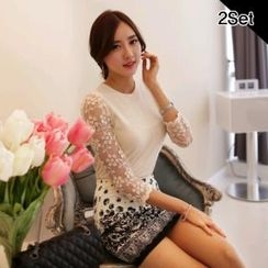 SUVINSHOP - Set: Mesh Lace-Sleeve Top + Patterned Miniskirt