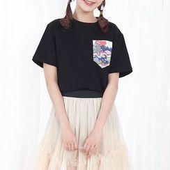 布衣天使 - 印花口袋短袖T恤