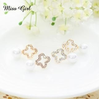 Miss Girl - Rhinestone Flower Beaded Studs