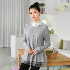 59 Seconds - Organza Hem Cable Knit Sweater