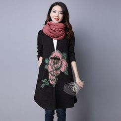 Supernova - Floral Print Frog Button Long Jacket