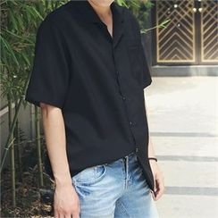 MITOSHOP - Plain Short-Sleeve Shirt
