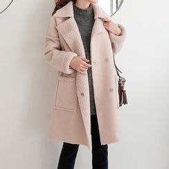 Seoul Fashion - Snap-Button Faux-Shearling Coat