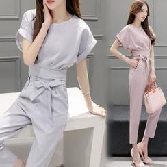 Enjoi - 套裝: 短袖上衣 + 錐形褲