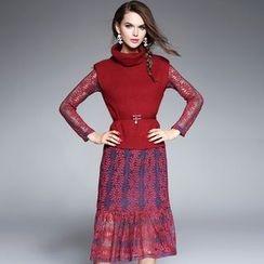 欧依潮派 - 套装: 蕾丝连衣裙 + 高领针织马甲