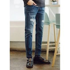 JOGUNSHOP - Drawstring-Waist Washed Jeans