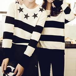 Evolu - Striped Star Appliqué Couple Knit Sweater